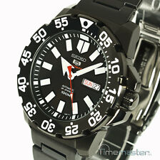 SEIKO 5 SPORTS MONSTER AUTO BLACK FACE ION STEEL SRP489K1 SRP489