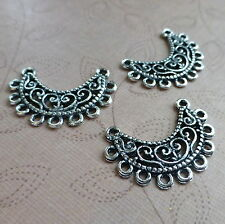 8 pcs Antique Silver Pendant or Earring Connector, multiloop