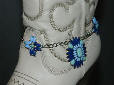 Blue Silver Fashion Boot Chain Bracelet Strap Cowboy Western Shoe Charm Bling