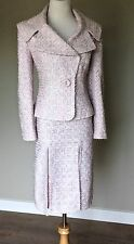 Zandra Rhodes for Escada Vintage Tweed Boucle Skirt Suit Jacket Pink Blue 42