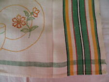 Vintage Irish Linen embroidered Tea Towel with cup and saucer
