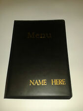 Ten (10) A5 MENU FOLDERS IN BLACK WITH YOUR BUSINESS NAME EMBOSSED IN GOLD