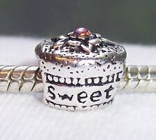 Sweet 16 Birthday Cake Cupcake Rhinestone Gift Bead for European Charm Bracelets