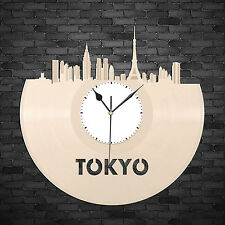 Tokyo Skyline Vinyl Wall Clock, Cityscape Clock, Unique Large Wall Clock