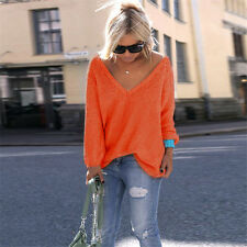 Womens Lady Long Sleeve Baggy Top Sweater Knitted Jumper Oversized Loose T-shirt