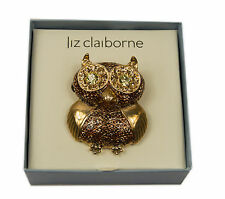 Vtg Liz Claiborne Gold Tone Rhinestone Owl Pin Brooch with original box