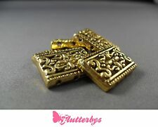 5 Gold Plated Rectangle 3 Strand Filigree Spacer Beads 17mm, Jewellery making