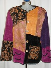 Indigo Moon PATCHWORK JACKET Womens L color block tapestry chenille purple