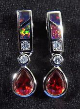 "Dark Red Lab Fire Opal & 9*7mm Garnet Silver 925 Filled Post Earrings 1"" Drop"