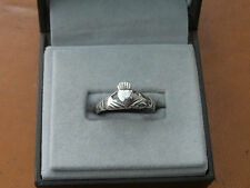 Beautiful Marked Silver Irish Celtic Claddagh Hands Heart Crown Ring Sz O 2.5gr