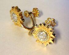Carrera Y Carrera Sun Sol Y Sombra 18K Gold Diamond sunflower earrings