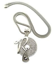 "NEW ICED OUT ROCAFELLA PENDANT & 4mm/36"" FRANCO CHAIN HIP HOP NECKLACE - XP888"