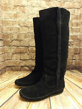 Ladies Nine West Black Suede Pull On Faux Fur Lined Long Boots US 5.5M UK 3.5