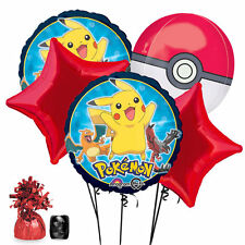 Pikachu Pokemon PokeBall Foil Bouquet Balloon 7pc Set w/ Weight + Curling Ribbon