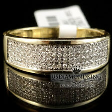 10k Yellow Gold Mens Pave Round Genuine Real Diamond 7mm Wedding Band Ring .25ct