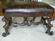 Maitland Smith Carved Dark WellingtonCottage Finished Bench Kodiak Brown Leather