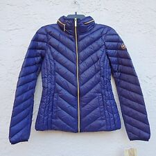 NWT MK Michael Kors Down Puffer Hooded Packable Coat Jacket Womens Sapphire SZ S