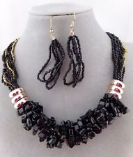 Black Stone Chip Necklace Earrings Set Gold Ring Fashion Jewelry NEW