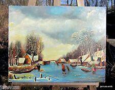 schönes Ölgemälde Winterlandschaft signiert L.Ouwens gelungene Künstlerarbeit