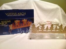 NIB Frosted Glass Votive Holders In Gold Arch With Christmas Tree