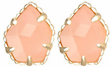 Kendra Scott Tessa Gold Stud Earrings in Pink Rose Quartz