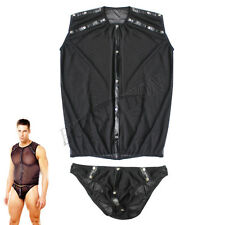 HOT Mens Sexy Mesh Stretch Undershirt Top & Thongs Briefs Rivets Studed Bodysuit