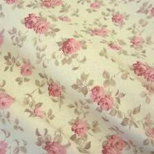Stoff Baumwolle Rosen rosa ecru creme Cretonne Nessel Blumen Mille Fleur  Neu