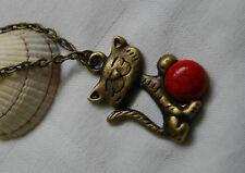 Retro vintage style antique bronze look necklace little cute cat pendant