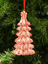 RED & WHITE PEPPERMINT SWIRL CHRISTMAS TREE CHRISTMAS ORNAMENT DECORATION