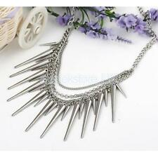 Womens Chunky Punk Silver Spike Rivet Tassel Chain Choker Collar Bib Necklace