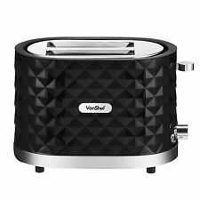 VonShef 1000W Black 2 Slice Diamond Wide Slot Toaster with Slide Out Crumb Tray