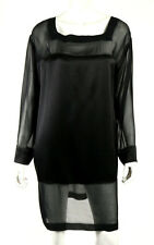 ALBERTA FERRETTI Black Silk Satin & Chiffon Long-Sleeve Shift Dress 48
