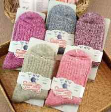 5 Pairs Womens Wool Cashmere Thick Soft Solid Casual Sports Winter Socks