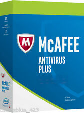 New Intel McAfee AntiVirus Plus 2017,1 PC Activation Key Card,Download