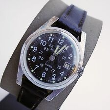 VINTAGE BLACK DIAL RUSSIAN 17 JEWEL SEKONDA ( POLJOT ) MILITARY STYLE WATCH