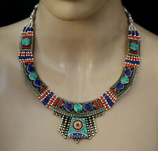 HANDMADE STERLING SILVER NECKLACE TIBETAN TURQUOISE CORAL JEWELRY LT2