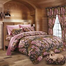 17PC PINK CAMO  COMFORTER SHEET SET CURTAINS WOODS QUEEN SIZE CAMOFLAUGE BEDDING