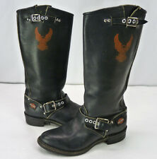 Harley Davidson Black Leather Tall Motorcycle Biker Boots Womens 7 Buckles Eagle