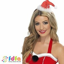 MINI MISS SANTA HAT ON HEADBAND WITH POM POM womens ladies christmas fancy dress