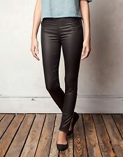 PULL&BEAR Black Waxed Effect Sailor Button Skinny Trousers Pants Resin Finish XS