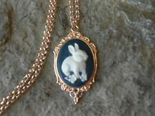 BUNNY RABBIT CAMEO ROSE GOLD TONE COPPER NECKLACE - QUALITY - NAVY - EASTER