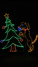 Dog Decorating Christmas Tree Outdoor LED Lighted Decoration Steel Wireframe