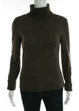 A-K-R-I-S Medium Brown Wool Speckled Ribbed Textured Turtleneck Sweater Sz IT 36