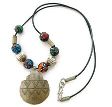 80s Boho Tribal Pendant Necklace Millefiore Glass Beads Leather Pewter Ethnic