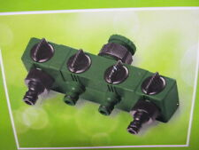 4 WAY GARDEN TAP CONNECTOR SPLITTER SHUT OFF VALVE 1 TAP TO 4 WATER HOSE ADAPTOR