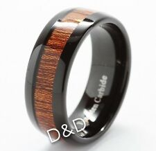 8mm Men's Tungsten Carbide Wood Inlay Beveled edge Wedding Band Ring Size 8-12 .