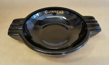 Vintage Glass Guinness Black Ashtray By Nazeing England Advertising Art Deco Bar