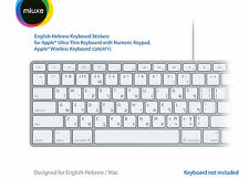 English Hebrew White Keyboard Stickers | Mac | GLARE-FREE VINYL Stickers!