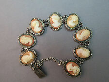 "Antique Cameo Bracelet Carved Shell Marked 800 Marcasites Estate Silver 7"" Fine"