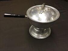Vintage Ornate Hammered metal aluminum chaffing dish Sets On Pedestal Est 1950's